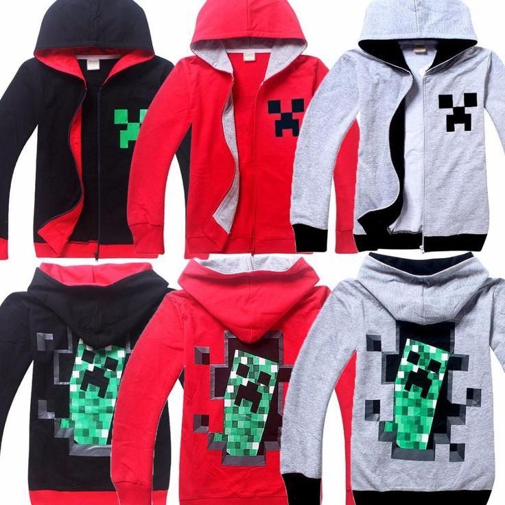Minecraft creeper hooded cotton sweatshirt zipper front