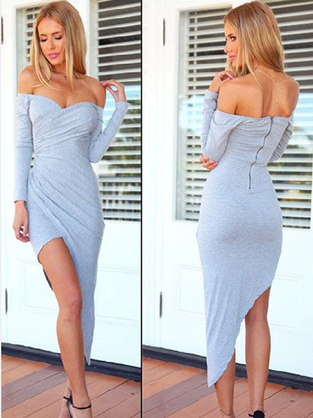 Women Sexy Off Shoulder Low-Cut Long Sleeve Irregular Hem Dress