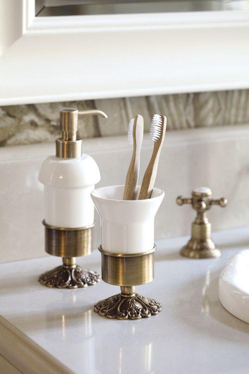 Ivy ceramic tumbler holder and ceramic dispenser bronze.