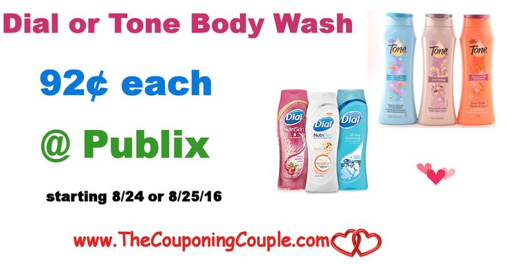* Dial or Tone Body Wash $0.92 @ Publix starting 8/25 (8/24 for some). Get your coupons ready to score this awesome upcoming body wash deal *  Click the link below to get all of the details ► http://www.thecouponingcouple.com/dial-or-tone-body-wash-0-92-publix/ #Coupons #Couponing #CouponCommunity  Visit us at http://www.thecouponingcouple.com for more great posts!