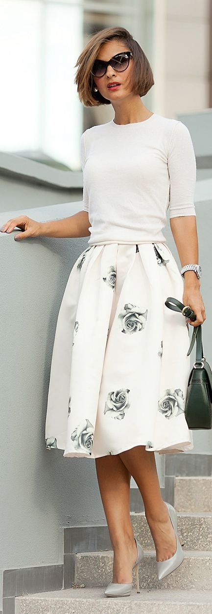 Women S Fashion White Sweater Floral Midi Skirt And