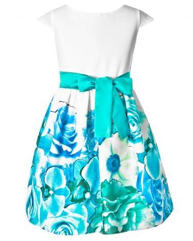 Sukienka w kwiaty dla dziewczynki 128-158 Anita 6 turkus