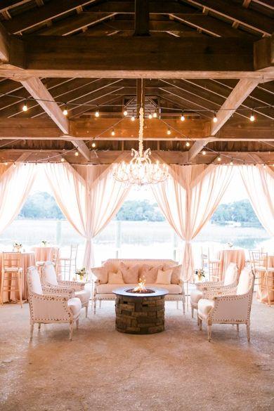 Beautiful Gold + White Lounge on the Cotton Dock // Classic White + Gold Boone Hall Plantation Wedding // Charleston SC Wedding Photographer // Dana Cubbage Weddings