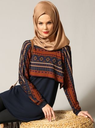 Ethnic Patterned Tunic - Navy Blue - Refka