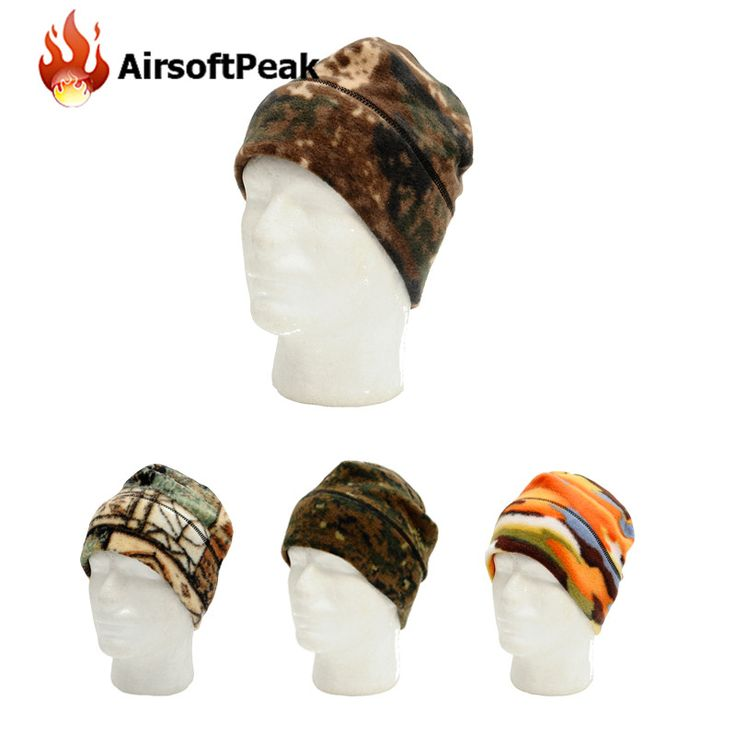 Winter Fleece Hat Hiking Warm Caps Moto Ski Camouflage Hunting Hats Outdoor Sports Caps Tactical Military Bionic Beanie Hat