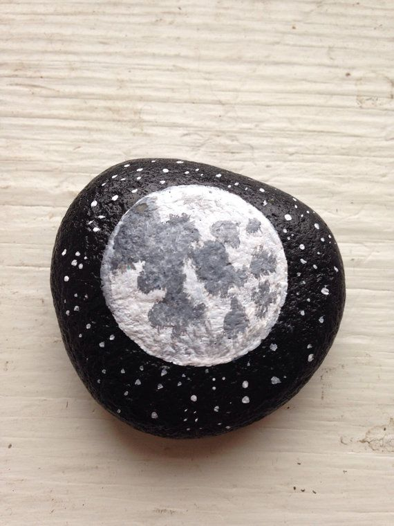 Painted Rock Full Moon Phase PAPERWEIGHT by BrownsThreadWorks!!                                                                                                                                                                                 More