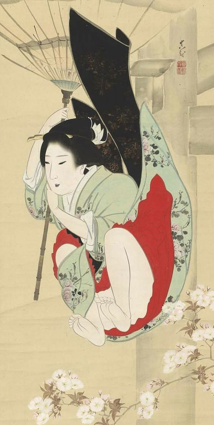 Girl falling through the air with an umbrella as parachute, main detail of a hanging scroll by Shinryo, early 19th century.