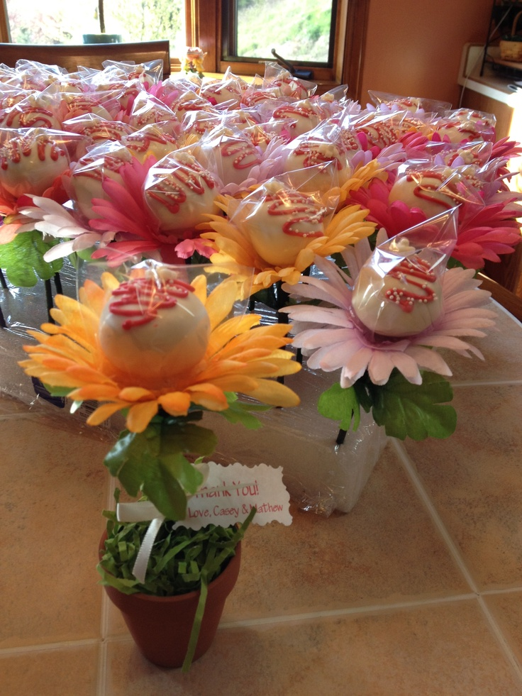 Flower pots bridal shower cake pops - this would work with spring color tootsie pops.....