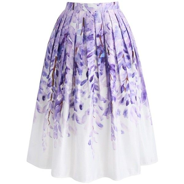 Chicwish Divine Wisteria Printed Midi Skirt ($44) ❤ liked on Polyvore featuring skirts, purple, purple midi skirt, mid calf skirts, purple skirt, knee length pleated skirt and flower midi skirt