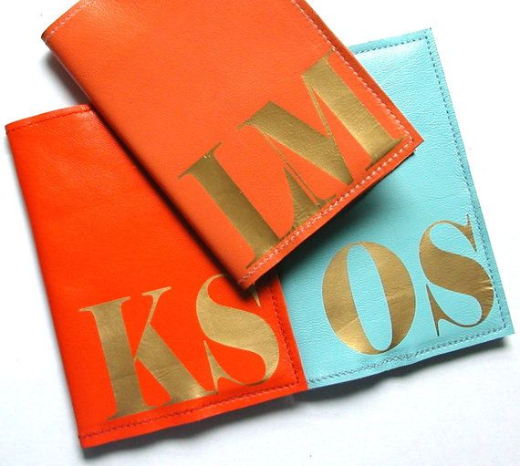 Mia Initial Leather Passport Holder Personalized by bambina, $22,00
