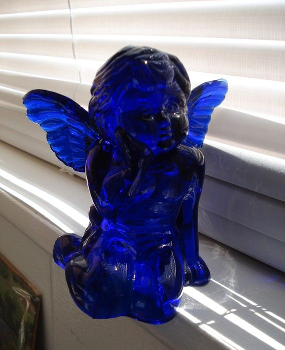 RESERVED FOR sunshine306 Beautiful Vintage Cobalt Glass Angel and Candlestick…