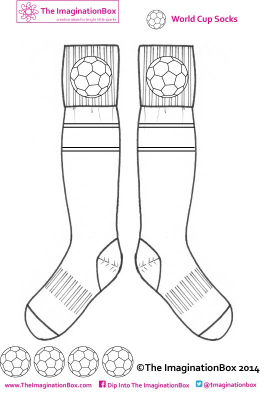 Design your own World Cup soccer/football socks - what colors will you choose? Free to download at The ImaginationBox