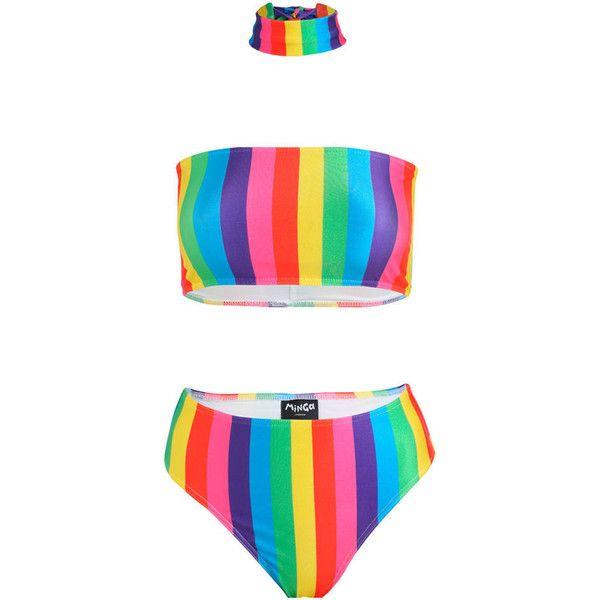 Rainbow Stripes Bikini Set Bandeau Top Choker Brief High Leg Waist... ($45) ❤ liked on Polyvore featuring swimwear, bikinis, silver, women's clothing, hipster bikini, swimming bikini, bandeau swim tops, bikini beachwear and bandeau top bikini