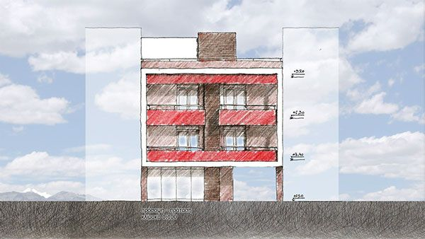 two storey appartments building on Behance