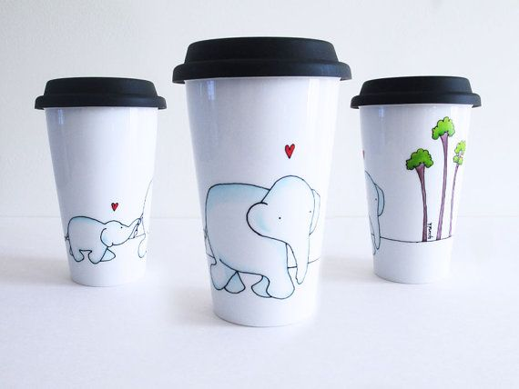Travel Mug with Blue Mom and baby Elephants tall by YunikDesign