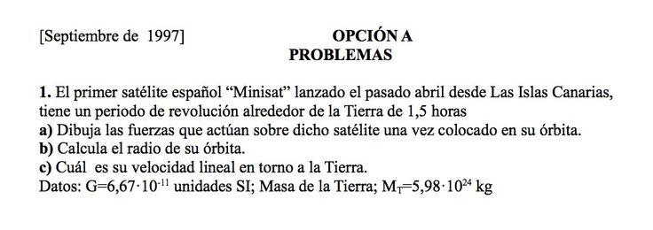 Ejercicio de Gravitación propuesto en el examen PAU de Canarias de 1997,  Setiembre, Opción A.