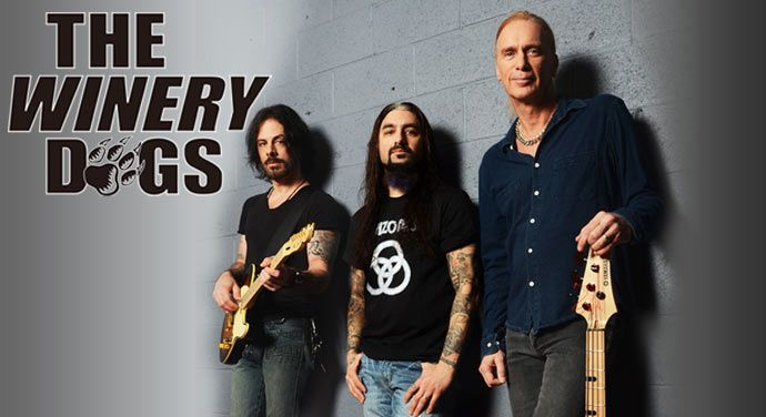 The Winery Dogs with Kotzen (guitar), Portnoy (drums) and Sheehan (bass).