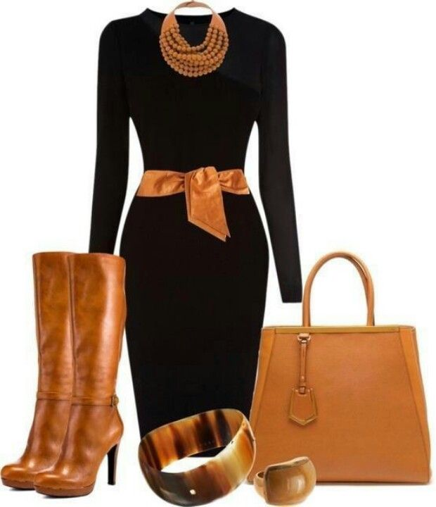Simple black dress: add caramel boots, belt, accessories and voila! Winter or fall outfit