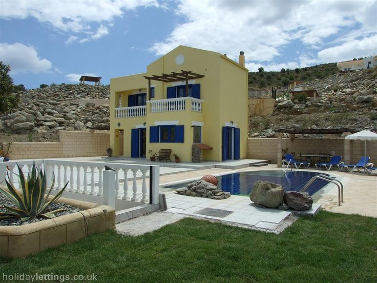 2 bedroom villa in Rhodes to rent from £700 pw, with a private pool. Also with balcony/terrace, log fire, air con, TV and DVD.