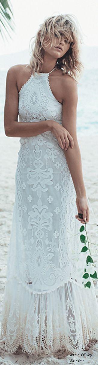 #boho #fashion #spring #outfitideas |Boho chic white halter maxi dress