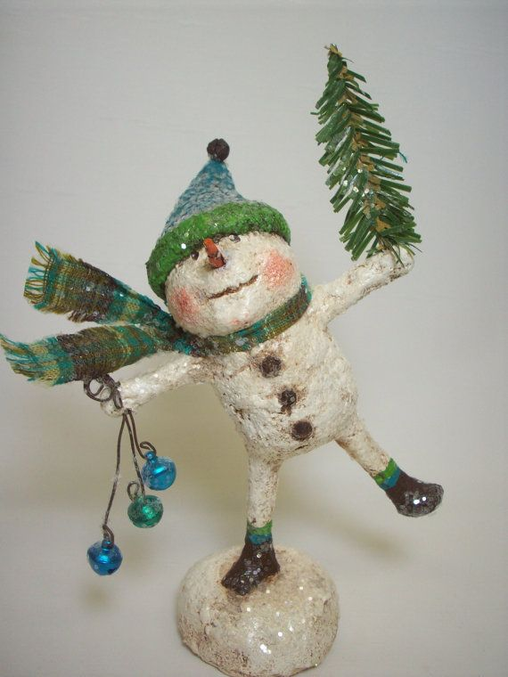 Paper Mache Folk Art Dancing Snowman by papiermoonprimitives, $48.00