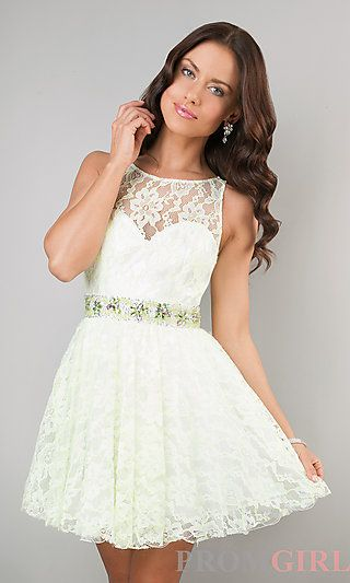 GREAT REHEARSAL DRESS! Short Lace Ivory Party Dress by Dave and Johnny at PromGirl.com