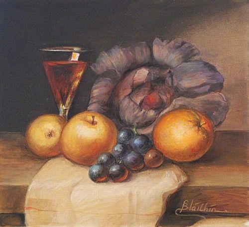 "Blaithin, ""Glass of Wine, Still Life"" #art #StillLife #fruit #wine #pastel #chalkpastel #chalk #DukeStreetGallery"