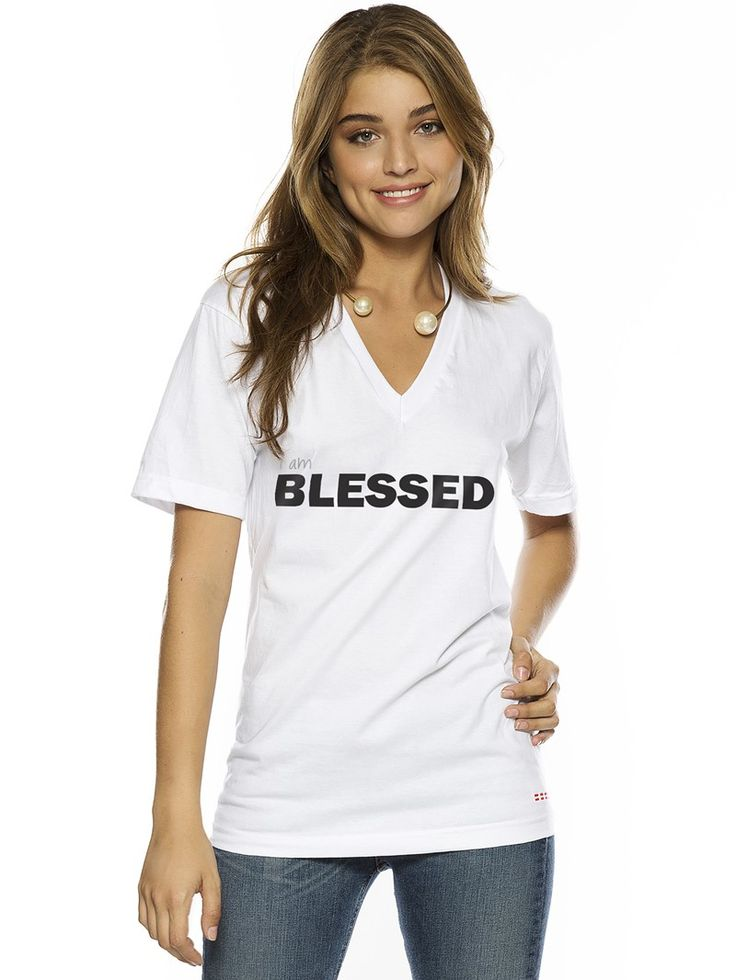 Peace Love World Clothing I Am Blessed V Neck Tee Tops Women