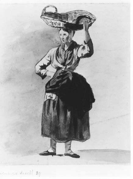 Negentiende-eeuwse Scheveningse dracht. De visverkoopster draagt een mand op haar hoofd, een mopsmutsje, halsdoek, laag uitgesneden jak, opgeschortte voorschoot en rok, kousen en schoenen. 1851 JE van Harleyen; potlood en krijt #ZuidHolland #Scheveningen