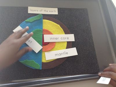 "We are on to our next planet ""Earth"". To help the kids memorize the layers of the Earth I made them a felt layers of the Earth puzzle. I ..."