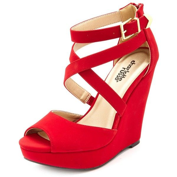 Strappy Peep Toe Platform Wedges ($16) ❤ liked on Polyvore featuring shoes, sandals, red, strappy platform sandals, wedge sandals, red wedge sandals, adjustable strap sandals and red wedge shoes