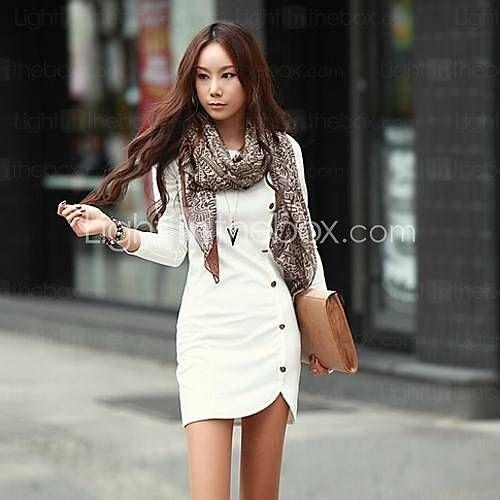 [USD $ 12.49] Women's European Casual Long Sleeve Solid color Plus Sizes Dress