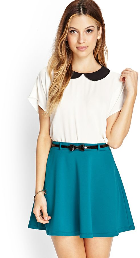 $14, Prep School Skater Skirt W Belt by Forever 21. Sold by Forever 21. Click for more info: http://lookastic.com/women/shop_items/112523/redirect
