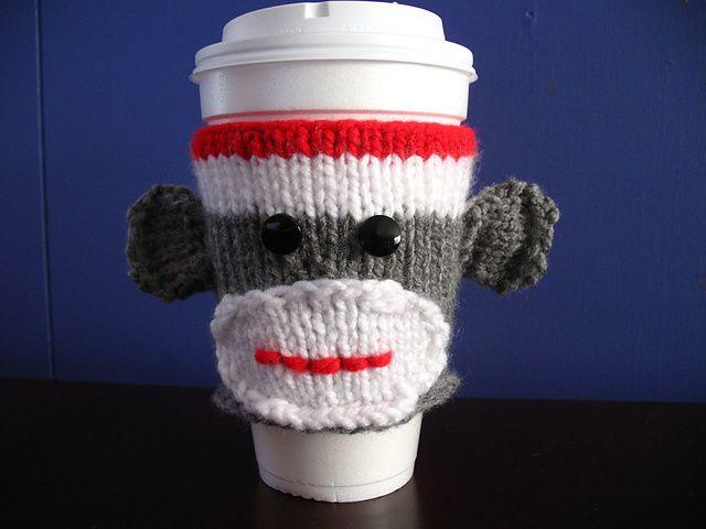 Sock Monkey Cup Cozy: Memorial Cups, Socks Monkey, Monkey Cups, Knits Patterns, Coffee Cups Cozy, Cozy Memorial, Cups Holders, Free Patterns, Coffee Cozy