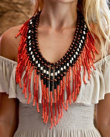 Native American Necklace - Red