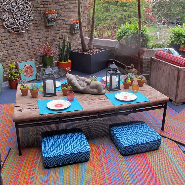 Colorful Striped Outdoor Area Rug