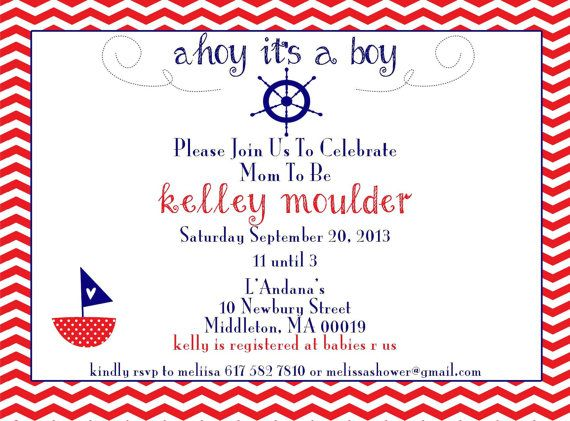 Nautical Invitation printable design 5x7 by GoToGirlSignDesigns