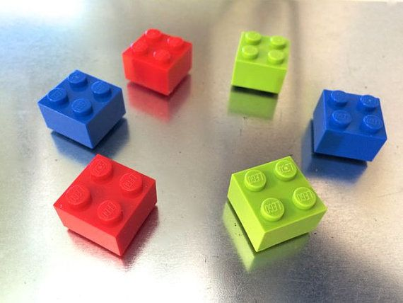 Multi colored magnets ~ LEGO® magnet set ~ Red magnets ~ Blue magnets ~ Lime #magnets ~ Cool #gifts for teens ~ Small Gifts for #LEGO ® lovers ~~~~ Exclusively at http://brickandbutton.etsy.com