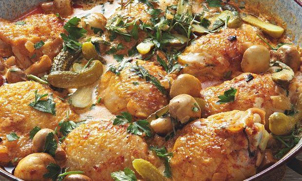 Yotam Ottolenghi's creamy chicken with mustard and gherkins