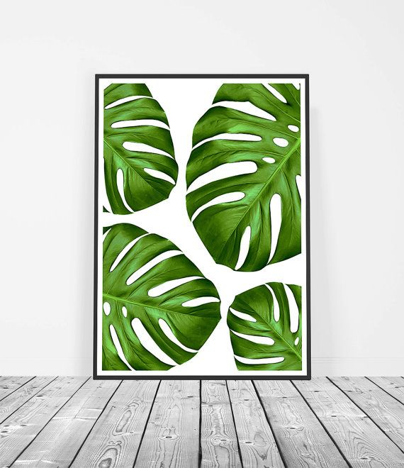 Monstera Print, Leaf Art Print, Botanical Print, Tropical Home Decor, Monstera Leaf Wall Art. Art Prints for the walls of your home by Little Ink Empire