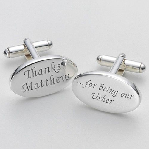 Engraved Thanks for Being our Usher Cufflinks  from www.personalisedweddinggifts.co.uk :: ONLY £19.99