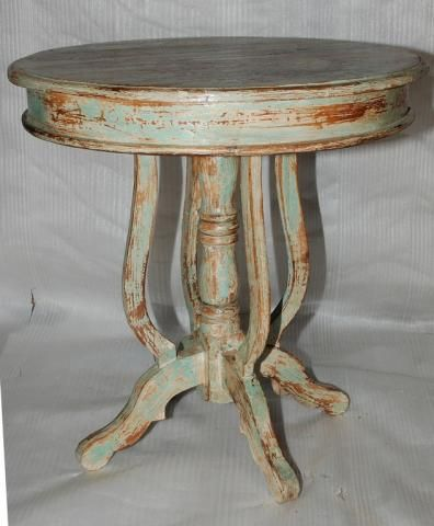 Great Round Distressed Painted Pedestal End Table   (light Aqua) | Resa James Home