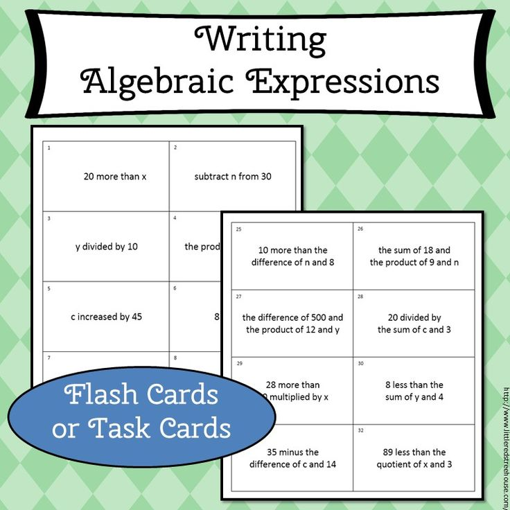 Writing algebraic expressions flash cards or task cards. This is a great independent activity. This set includes 48 cards. Make flash cards or task cards. Students love getting instant feedback. Great for early finishers. Simone's Math Resources