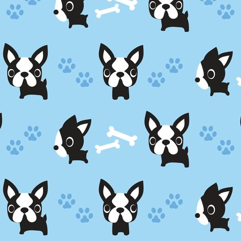 Cute French Bulldogs - Blue fabric by boredinc on Spoonflower - custom fabric. Looks more like a boston terrier. Limited Edition French Bulldog Tee http://teespring.com/lovefrenchbulldogs