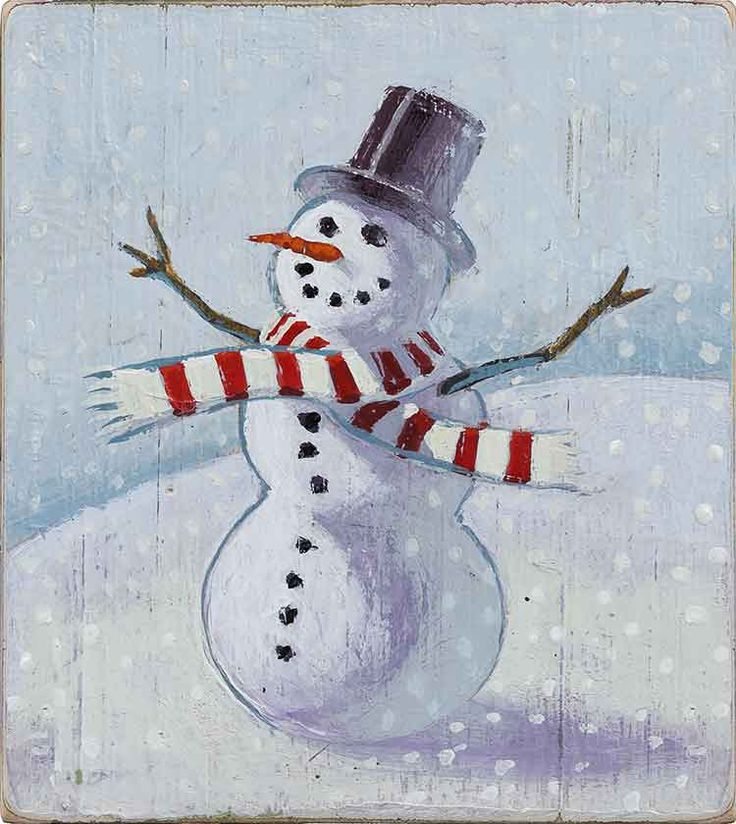 Joyful snowman. Handpainted illustration by ©Phil. Represented by i2i Art Inc. #i2iart