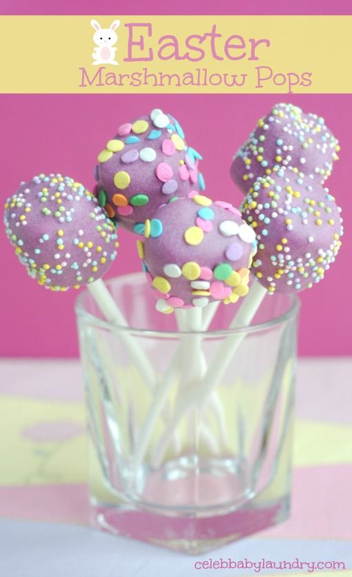 Easter Marshmallow Pops #Easter #EasterPops  Here's a cute, but simple recipe for Easter. These delicious Easter Marshmallow pops are decorated with festive sprinkles and a purple chocolate layer over a soft marshmallow.