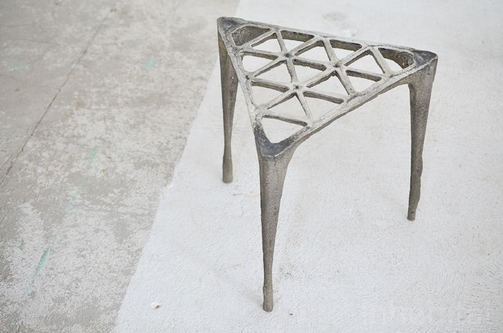 """""""This stool is probably Max Lamb's most famous work to date. To produce it, he used only sand, sea, and molten metal. The production process was performed entirely on a beach by the sea using hand-crafted techniques"""""""