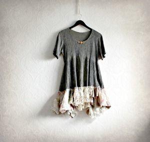 Women's Boho Empire Waist Top Gray Babydoll Shabby Style Clothing Long Tunic Shirt Short Sleeves M