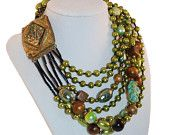 Ornella Necklace Glass Stone Beads Faux Pearls Green Bronze Brown Blue