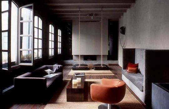 .: Loft Area, Inspiration, Loft Style, Indoor Swings, Orange Living Rooms, Interiors Design, Colors Schemes, Architecture, Rooms Colors